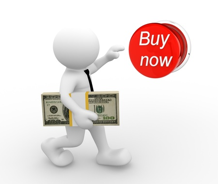 purchase order: 3d people - man , person  with stack of money, pushing buy now button. The concept of shopping Stock Photo