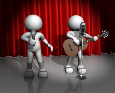 roll curtains: 3d people - man, person with a acoustic guitar. Guitarist on stage at a microphone. Band