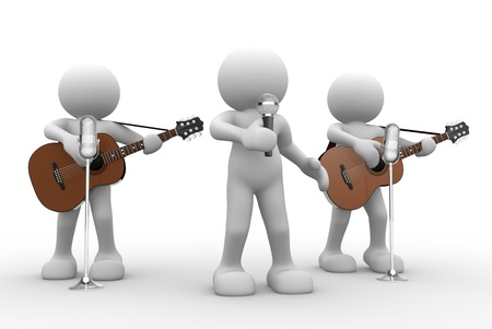 3d puppet: 3d people - man, person with a acoustic guitar. Guitarist on stage at a microphone. Band