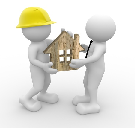 3d people - man, person with a house . Builder and a businessman Stock Photo - 14815548