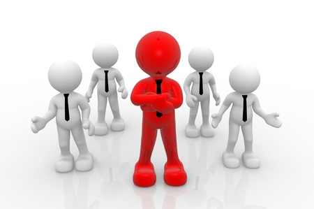 team leader: 3d people-  men, person. Leadership and team