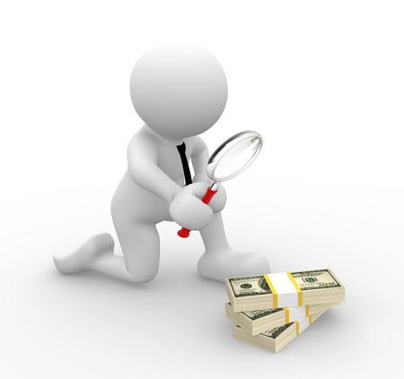human figures: 3d people - man, person with a magnifying glass and pile of dollar. Search concept.