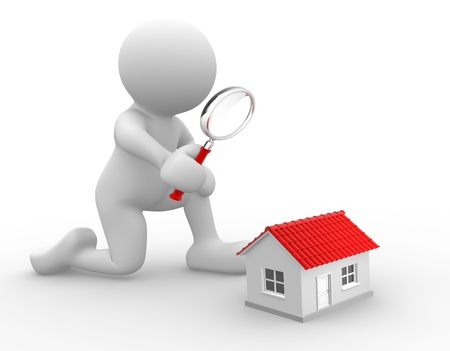 3d people - man, person with a magnifying glass and a house. Search concept. photo