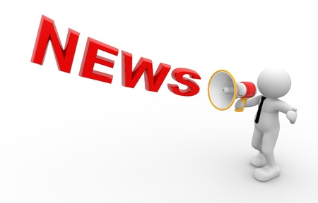 digital news: 3d people - man, person and  a megaphone. News concept.