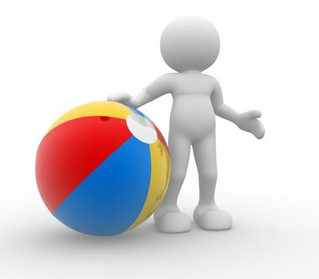 3d people - man, person with a beach ball.  photo