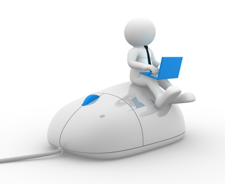 3d mouse: 3d people - man, person with a laptop and mouse