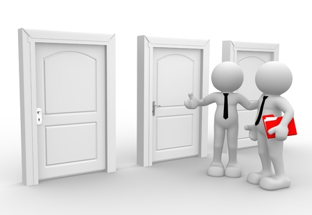 door man: 3d people - men, person with a folders. Businessman  Stock Photo