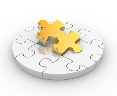 jigsaw pieces: Pieces puzzle ( jigsaw). 3d render illustration Stock Photo