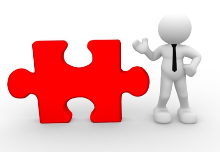 art piece: 3d people - man, person with a piece of puzzle. Jigsaw Stock Photo