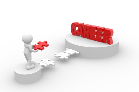 struggling: 3d people - men, person and last piece of  puzzle -  jigsaw. Career