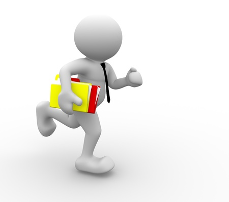 running icon: 3d people - human character, person with folders, running. Businessman. 3d render Stock Photo