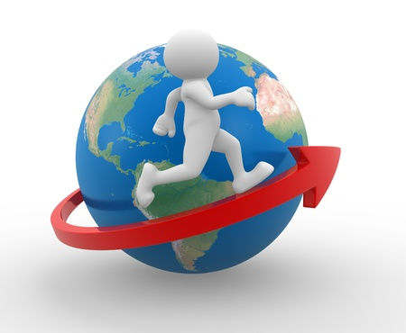 3d people - human character , person running on an arrow around Earth globe. 3d render photo