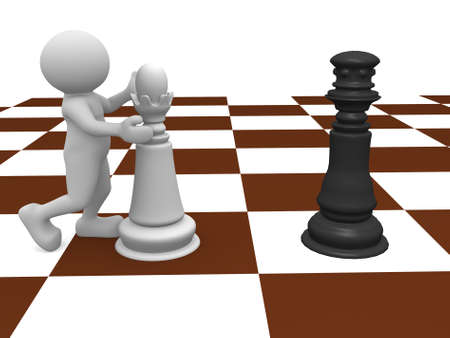 3d people - human character, person with queen and king on a chessboard. 3d render photo
