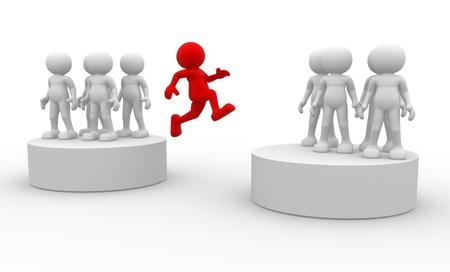 persona saltando: La gente 3d - el car�cter humano, persona que salta. 3d Foto de archivo