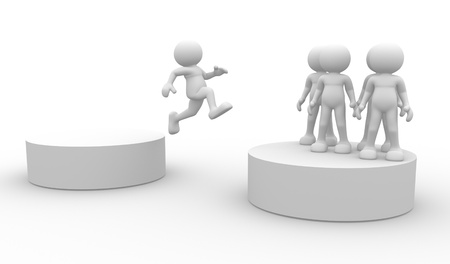 3d people - human character, person jumping . 3d render  photo
