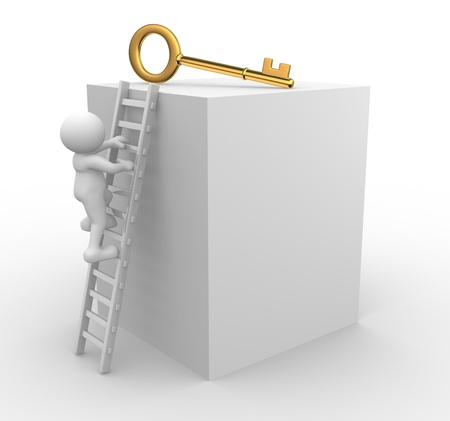 up stair: 3d people - men, person climbing to a golden key.