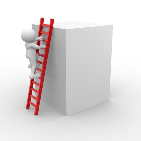 clamber: 3d persone - uomini, persone e una scala. Per il successo Archivio Fotografico