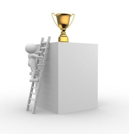 3d people - men, person on a ladder and a cup - trophy.  To Success photo