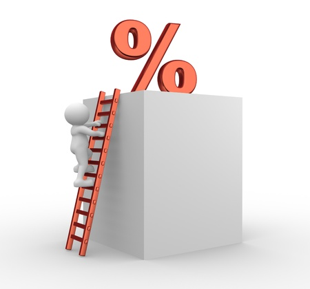3d people - men, person on a ladder and a percent. To Success  Stock Photo - 14815265