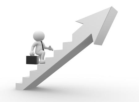 subiendo escaleras: 3d gente - hombre, persona que los sube las escaleras con la flecha. Para el Éxito. Hombre de negocios