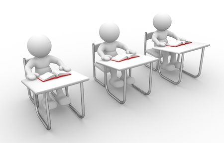 3d people - man, person with  books at  table study photo