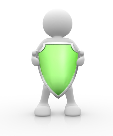 3d people - human character, person with a  shield. 3d render  Stock Photo - 14814899
