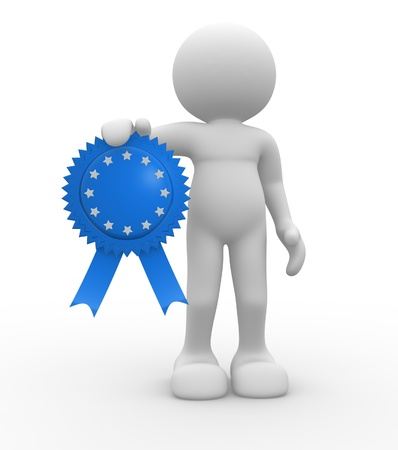 acknowledgement: 3d people - human character, person with an award medal. 3d render