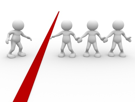 helping hand: 3d people - human character , person and a red line. A hand outstretched for help . 3d render illustration