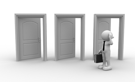 dilemma: 3d people - men, person and open doors. Businessman
