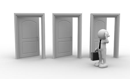 3d people - men, person and open doors. Businessman  photo
