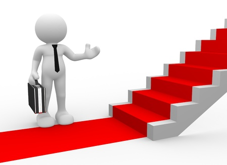 3d people - man, person with a red carpet and stairs. To Success. Businessman photo