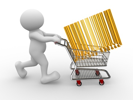 3d people - human character, person with shopping cart and barcode (bar code) 3d render photo