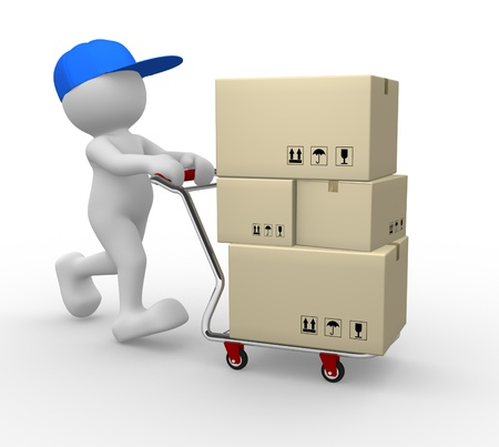 cartero: Gente 3d - car�cter humano, persona con carrito (carretillas de mano) y cajas de carga. 3d render Foto de archivo