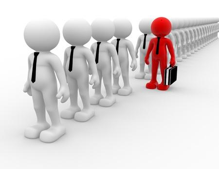 3 d の人々 - 男性、行の人。リーダーシップとチーム。