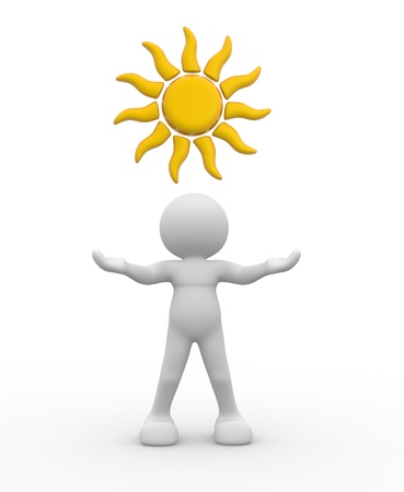 overhead: 3d people - human character, person with sun overhead. 3d render illustration Stock Photo