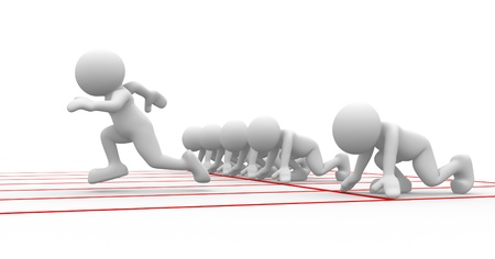 small people: 3d people - human character, person at  starting line. Athlete - sports. 3d render