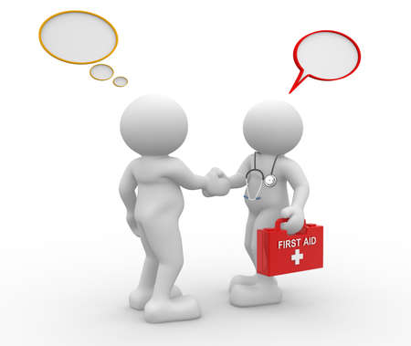 3d people - men, person with stethoscope and frist aid. Doctor and patient photo
