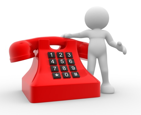 3d people - human character , person and a telephone. Communication 3d render Stock Photo - 14815425