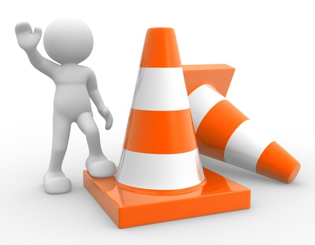 3d people - man, person and traffic cones. photo