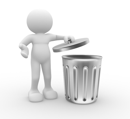 3d people - human character , person standing next to a trash can . 3d render photo