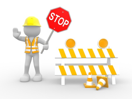 under construction sign with man:  3d people - human character, person with stop sign.  Construction worker. 3d render illustration  Stock Photo