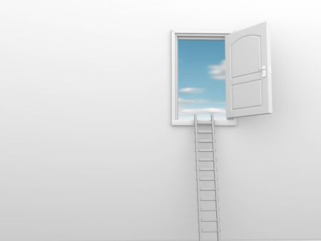 ascended: A ladder and an open door to heaven. 3d render illustration Stock Photo