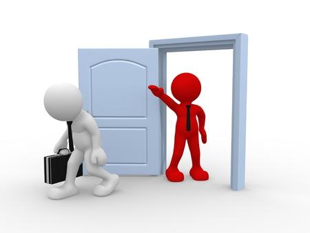 derechos humanos: 3d gente - car�cter humano persona, pate� la puerta. Hombre de negocios con malet�n despedido. 3d render