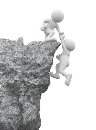 amistad: 3d gente - car�cter humano, persona y una roca. Echar una mano. 3d render