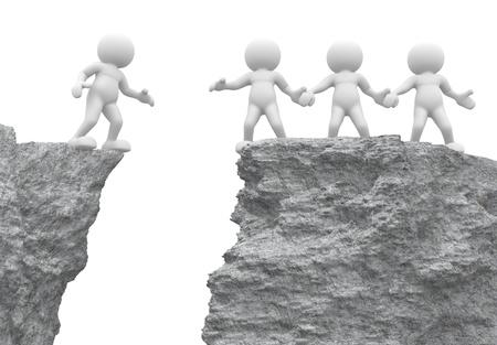 obstaculo: Gente 3d - carácter humano, persona en los acantilados. Echar una mano, salvó. 3d render Foto de archivo
