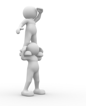 3d people - human character , person  which looks into the distance. 3d render Stock Photo - 14814853