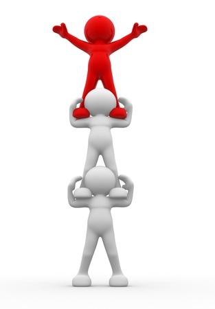 piramide humana: Gente 3d - carácter humano, persona. Las aspiraciones. 3d render