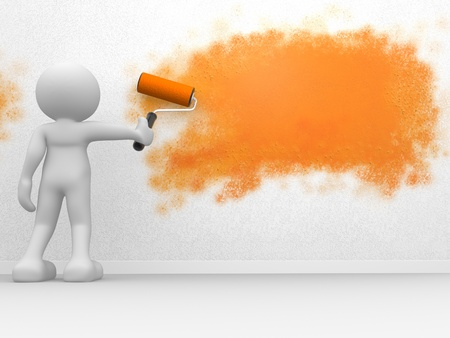 housepainter: 3d people - human character, person and a paint roller. 3d render illustration Stock Photo