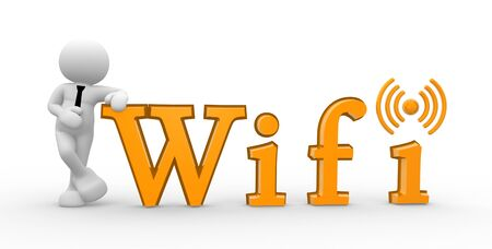 3d people - man, person and a word  wifi -  wireless sign  photo