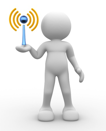 3d people - human character, person and a wireless sign. 3d render photo